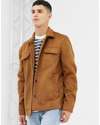 Veste-chemise en daim marron clair Farah