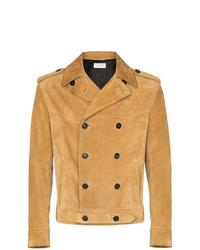 Veste-chemise en daim marron clair Saint Laurent