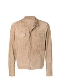 Veste-chemise en daim marron clair Salvatore Santoro