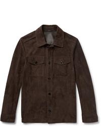 Veste-chemise en daim marron foncé