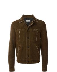 Veste-chemise en daim marron foncé Saint Laurent