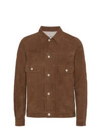 Veste-chemise en daim marron