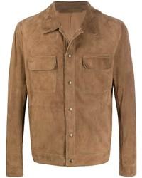 Veste-chemise en daim marron Salvatore Santoro