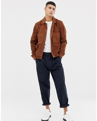 Veste-chemise en daim marron Selected Homme