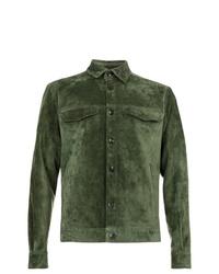 Veste-chemise en daim olive Ajmone