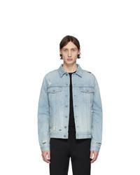 Veste-chemise en denim bleu clair Balmain
