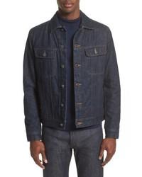 Veste-chemise en denim bleu marine