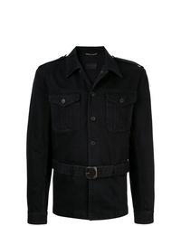 Veste-chemise en denim noire Saint Laurent