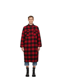 Veste-chemise en flanelle à carreaux rouge et noir