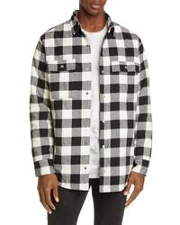 Veste-chemise en flanelle écossaise blanche et noire