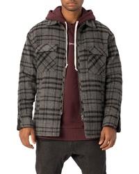 Veste-chemise en flanelle écossaise gris foncé