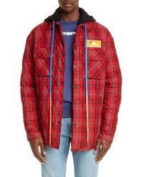 Veste-chemise en flanelle écossaise rouge
