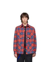 Veste-chemise en flanelle écossaise rouge Gucci