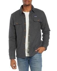 Veste-chemise en flanelle gris foncé