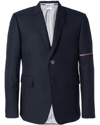 Veste-chemise en laine à rayures horizontales bleu marine Thom Browne