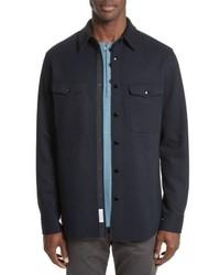 Veste-chemise en laine bleu marine