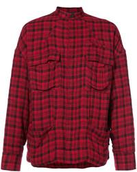 Veste-chemise en laine bordeaux