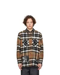Veste-chemise en laine écossaise marron We11done