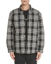 Veste-chemise en laine écossaise noire