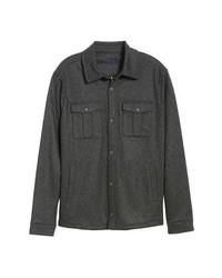 Veste-chemise en laine gris foncé