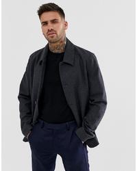 Veste-chemise en laine gris foncé ASOS DESIGN