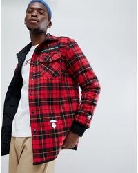 Veste-chemise en laine rouge