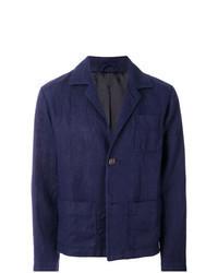 Veste-chemise en lin bleu marine