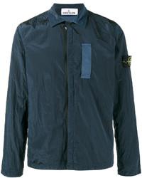Veste-chemise en nylon bleu canard Stone Island