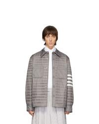 Veste-chemise en nylon matelassée grise Thom Browne