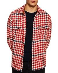 Veste-chemise en pied-de-poule rouge