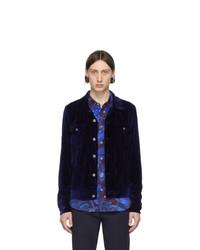 Veste-chemise en velours bleu marine Paul Smith