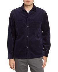 Veste-chemise en velours côtelé bleu marine