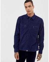 Veste-chemise en velours côtelé bleu marine Pretty Green