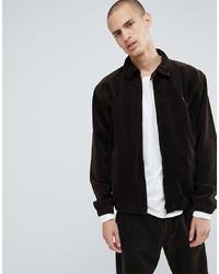 Veste-chemise en velours côtelé marron foncé