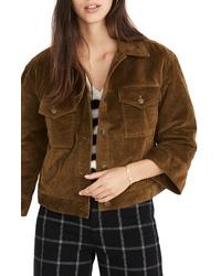 Veste-chemise en velours côtelé marron