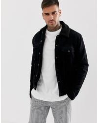 Veste-chemise en velours côtelé noire New Look