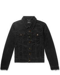 Veste-chemise en velours côtelé noire Saint Laurent