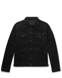 Veste-chemise en velours côtelé noire Tom Ford