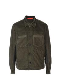 Veste-chemise en velours côtelé olive Komakino