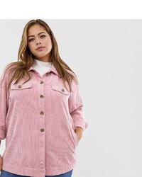Veste-chemise en velours côtelé rose Zizzi