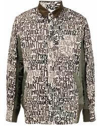 Veste-chemise imprimée beige Sacai