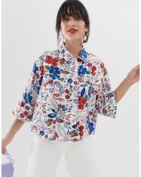 Veste-chemise imprimée blanche Essentiel Antwerp
