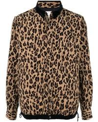 Veste-chemise imprimée léopard marron Sacai