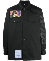 Veste-chemise imprimée noire McQ Swallow