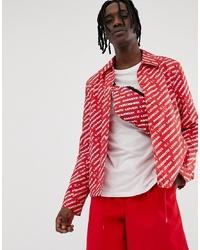 Veste-chemise imprimée rouge ASOS DESIGN