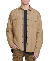 Veste-chemise matelassée marron clair