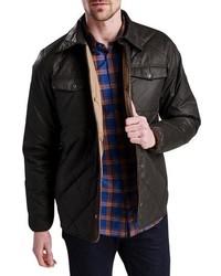 Veste-chemise matelassée marron foncé