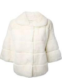 Veste de fourrure blanche