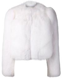Veste de fourrure blanche Saint Laurent