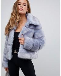 Veste de fourrure bleue claire Missguided